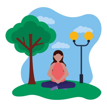 woman pregnancy belly and maternity in the park vector illustration Standard-Bild - 129937589