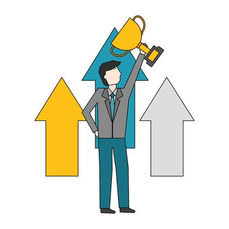 businessman with arrows up and trophy cup avatar character vector illustration design Ilustração