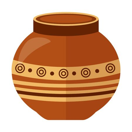 indian ceramic pot folk icon vector illustration design
