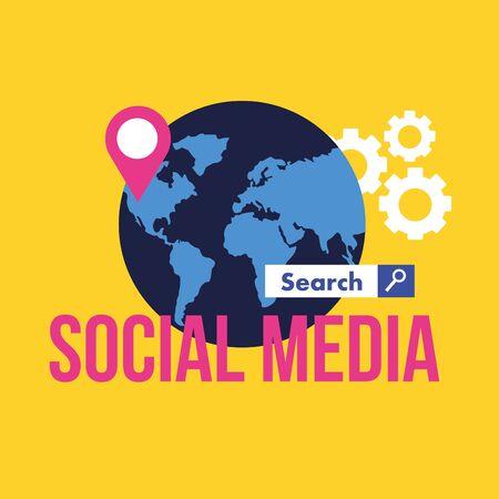 Social media and multimedia icon set, Apps communication and digital marketing theme Colorful design Vector illustration Ilustração
