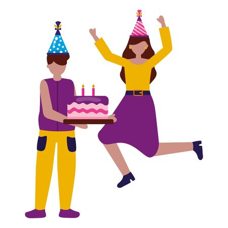 happy woman and man with cake birthday celebration vector illustration