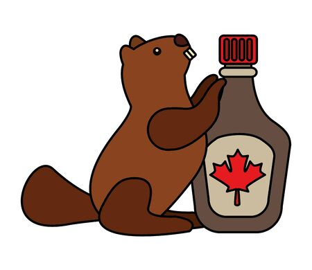 happy canada day beaver syrup bottle vector illustration