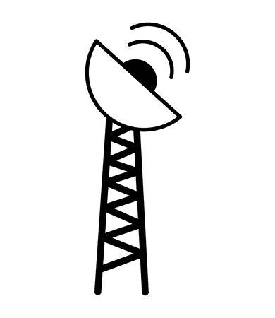 antenna transmission signal on white background vector illustration Ilustração