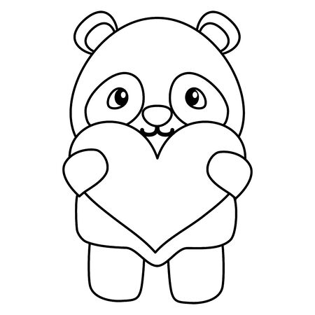 cute little bear panda with heart love vector illustration design