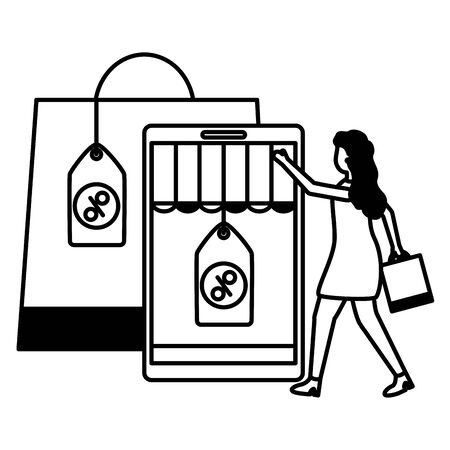 man and woman shopping bag commerce vector illustration Stock Vector - 129937624