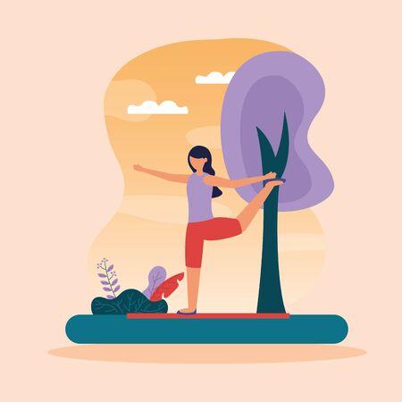 woman flexing leg yoga outdoor vector illustration