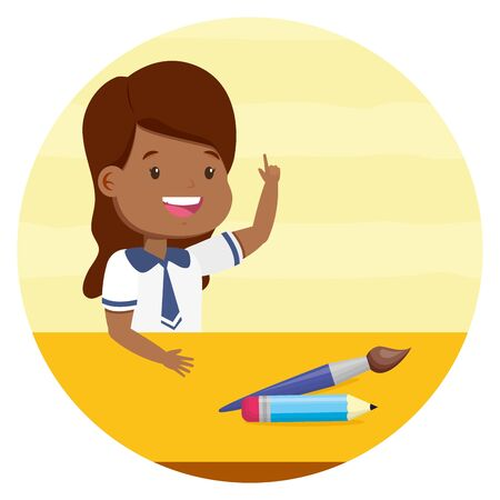 girl student with paintbrush and pencil back to school vector illustration