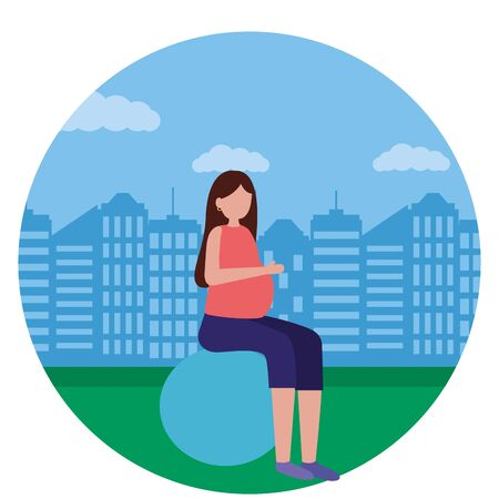 woman pregnancy belly on yoga ball scene flat vector illustration Illustration