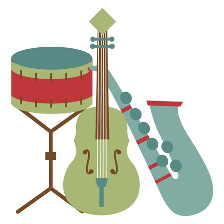 saxophone fiddle and drum instrument festival music vector illustration Çizim