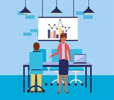Workflow design, Infographic data information business analytics and visual presentation theme Vector illustration