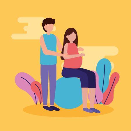 man and woman pregnancy and maternity scene flat vector illustration Standard-Bild - 129937667