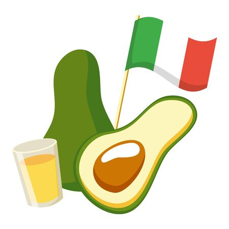 avocado with flag and tequila cup vector illustration design Illustration