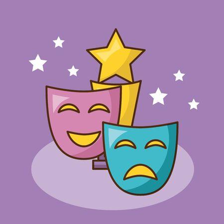 Cinema mask design, Movie video film media entertainment show and event theme Vector illustration  イラスト・ベクター素材