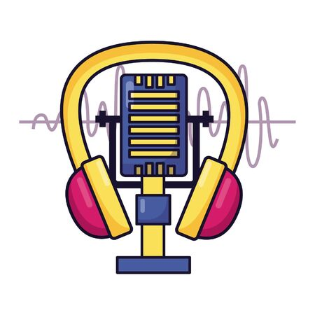 microphone and headphone music festival vector illustration Illustration