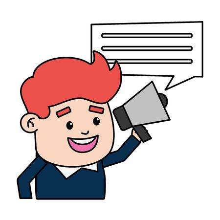 businessman online payment megaphone talking vector illustration Stockfoto - 129937733