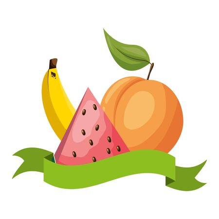 watermelon peach banana tropical fruits banner sticker vector illustration 写真素材 - 129937742