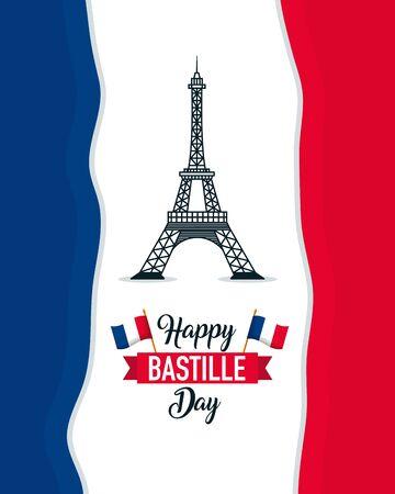 eiffel tower france flag background happy bastille day vector illustration