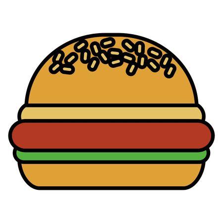 tasty burger on white background vector illustration 일러스트