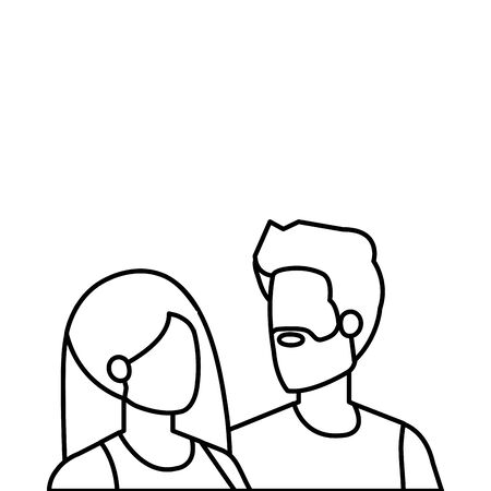 young lovers couple avatars characters vector illustration design Stock fotó - 129937772