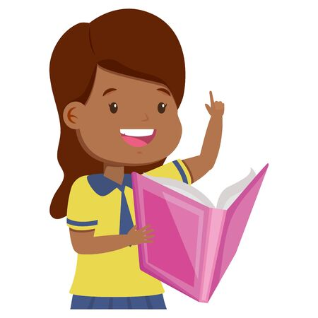 girl student reading book back to school vector illustration