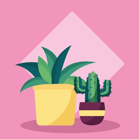 decorative plants in pots leaves interior background vector illustration Ilustrace