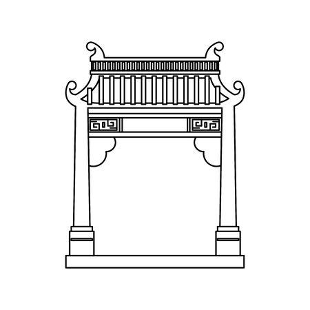 chinese arch building traditional icon vector illustration design Illustration