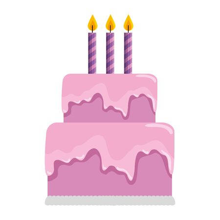 delicious sweet cake with candles vector illustration design