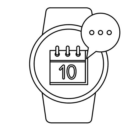 smartwatch with speech bubble and calendar vector illustration design