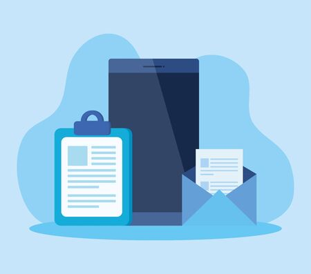 smartphone technology with document report and letter to business strategy, vector illustration