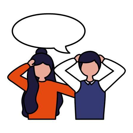 boy and girl with talk bubble mental depressed vector illustration Foto de archivo - 129937845