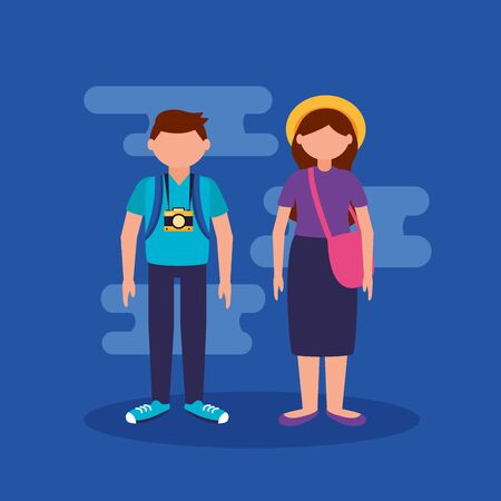 couple with camera and bags- people and travel vector illustration  イラスト・ベクター素材