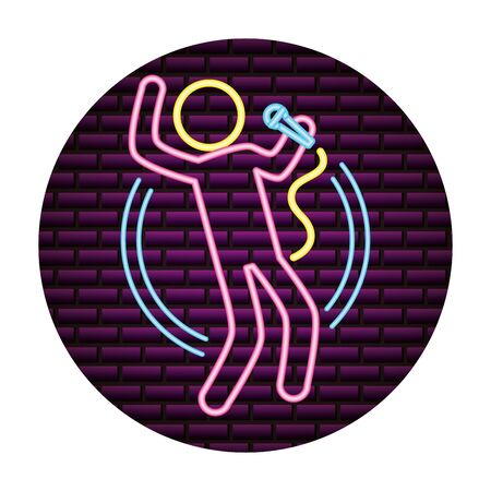 singer microphone karaoke music neon vector illustration