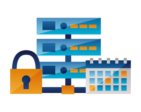 database server calendar padlock cyber security data vector illustration