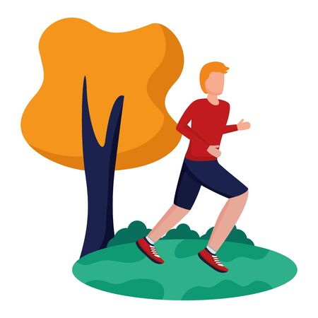 man practicing running activity in the park vector illustration