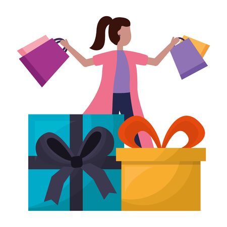 woman with shopping bag and gifts commerce vector illustration Illustration