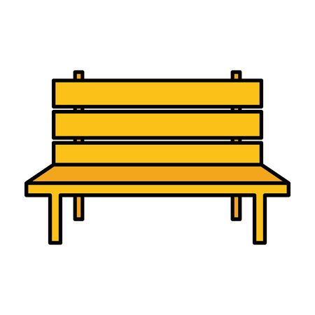 yellow bench park on white background vector illustration