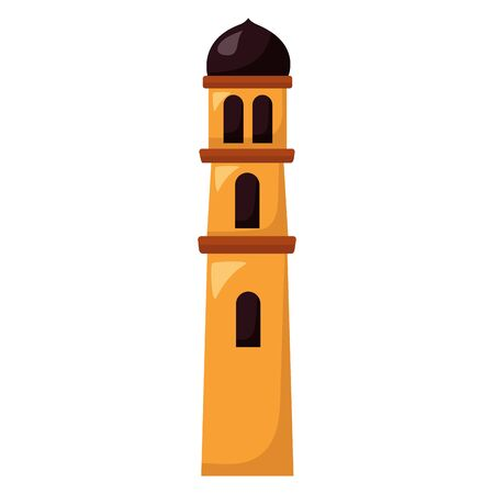 temple tower traditional on white background vector illustration