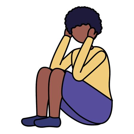 boy sitting with sadness mental depressed vector illustration Фото со стока - 129938002