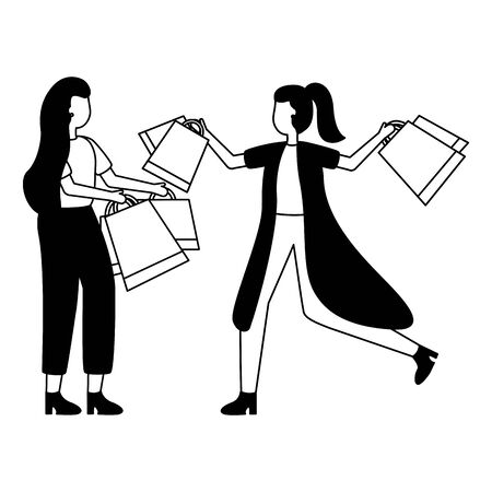 two women holding shopping bags vector illustration