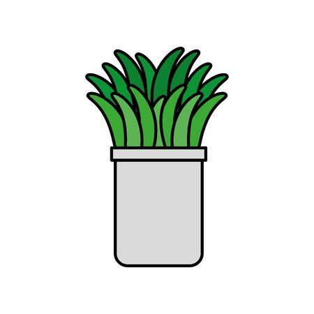 houseplant in pot natural icon vector illustration design