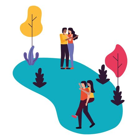couples romantic love together outdoors flat design vector illustration Illustration