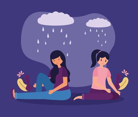 tristesse, filles, à, trouble mental, psychologique, déprimé, vecteur, illustration Vecteurs