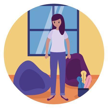 woman in the room mental disorder psychological depressed vector illustration Foto de archivo - 129938034