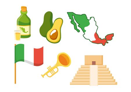 map flag avocado trumpet tequila celebration vector illustration 일러스트