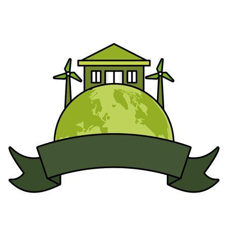 world house solar panel windmill emblem eco friendly environment vector illustration Archivio Fotografico - 129938074