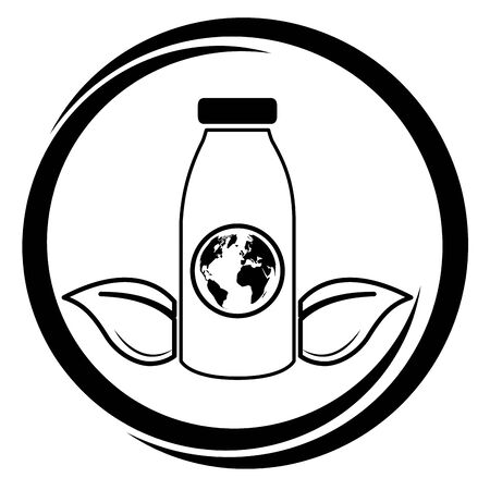 bottle world emblem eco friendly environment vector illustration