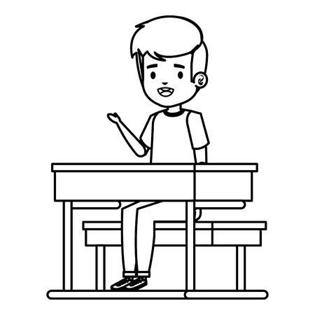 happy student boy seated in school desk vector illustration design Foto de archivo - 129938155