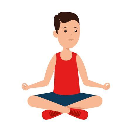happy athletic boy practicing yoga vector illustration design