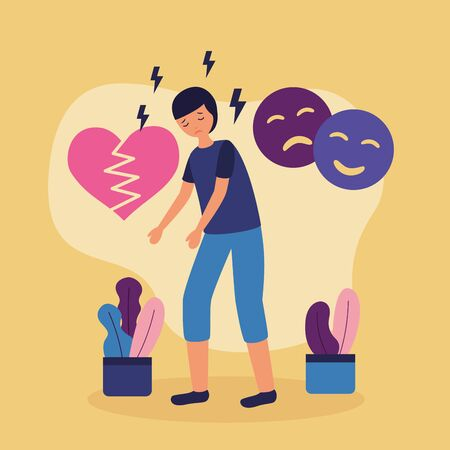 boy with mental disorder disappointed heart break vector illustration Illustration