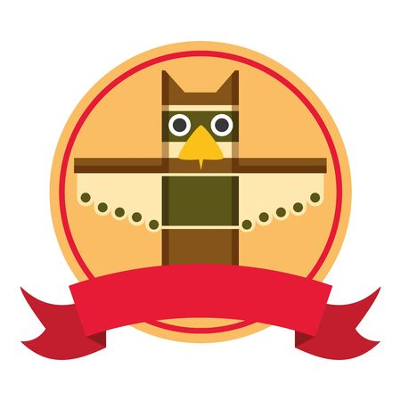 totem happy canada day badge ribbon vector illustration